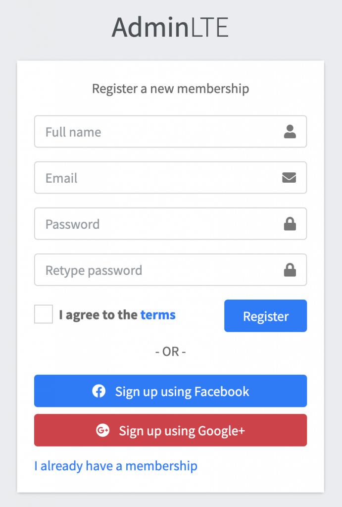 AdminLTEの登録画面テンプレート
