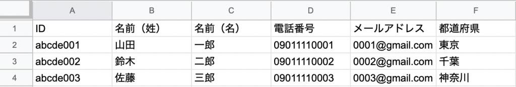 スプレッドシートのデータベース